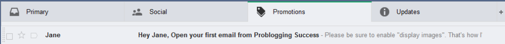 Gmail tabs confirmation message