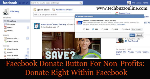 Facebook Donate Button For Non-Profits: Donate Right Within Facebook