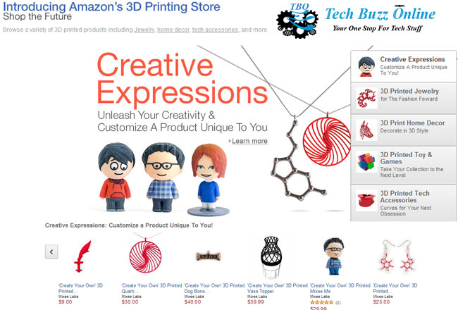 Amazon launches 3D printed products store