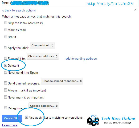 How to block an email address in Gmail delete it