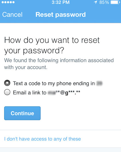 Twitter adds password reset via text message and suspicious login notification