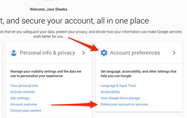 delete account gmail