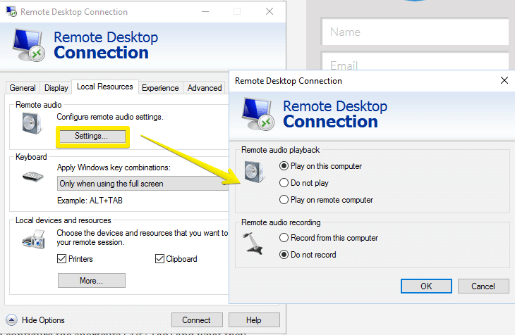Remote Desktop Connection-adjust audio