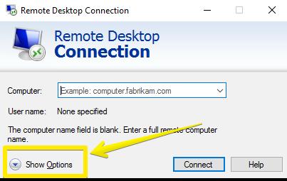 Remote Desktop Connection- show option