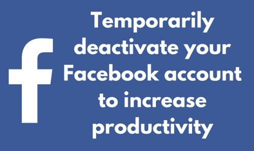 How do I temporarily disable my facebook account?