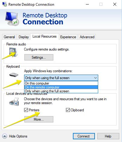 remote desktop connection-local resources