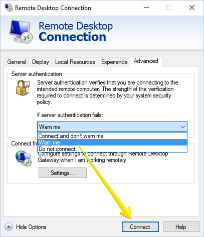 remote desktop connection-advanced