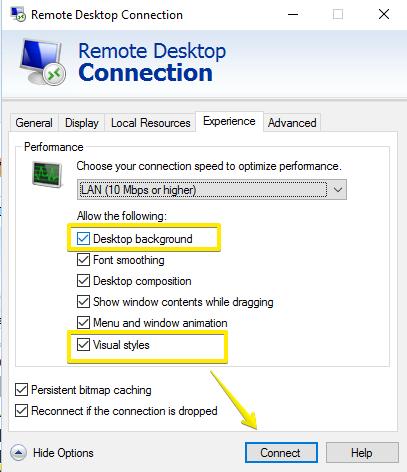remote desktop connection-visual styles