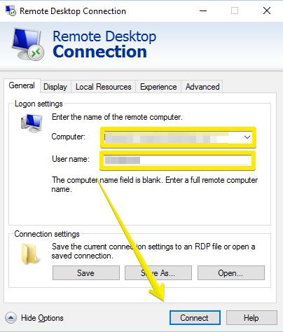remote desktop-general tab