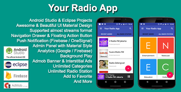 Top 12 android app templates with source code to launch your own this radio app template is suitable for developing your own mobile internet radio streaming app the app supports background play and streaming of multiple pronofoot35fo Images