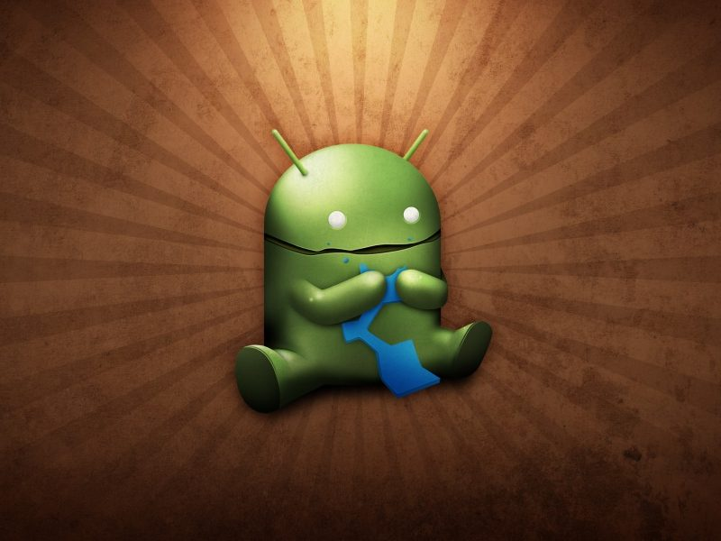 Android Robot Eating with Sunburst Background