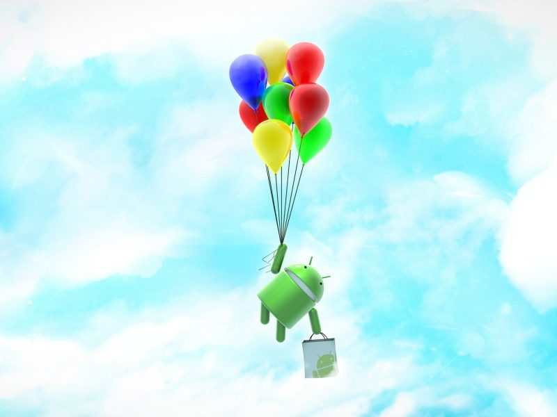 Android Bot Flying in Sky