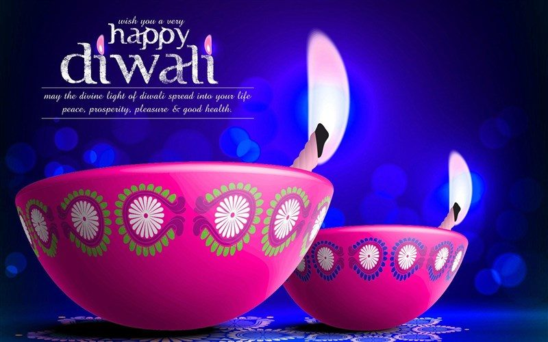 Blue Diwali Wallpaper with Pink Diyas