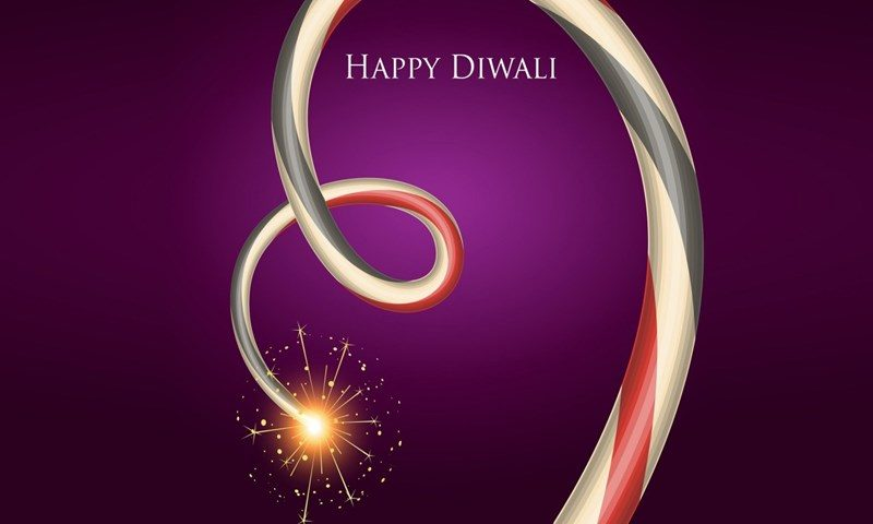 Diwali Purple Background with Fireworks