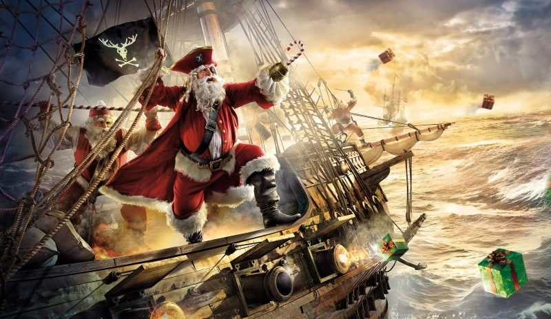 Christmas Ship Pirate Funny Santa