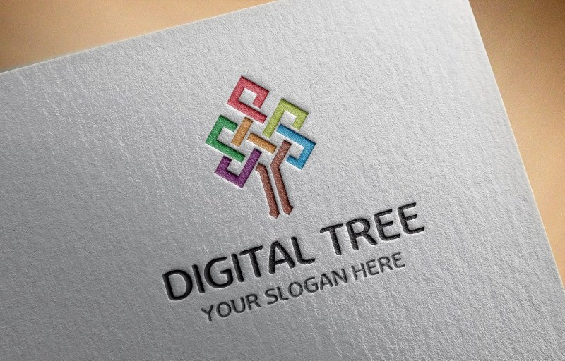 digital tree logo template