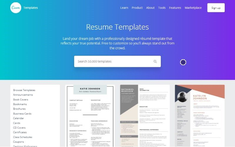 1 canva resume templates