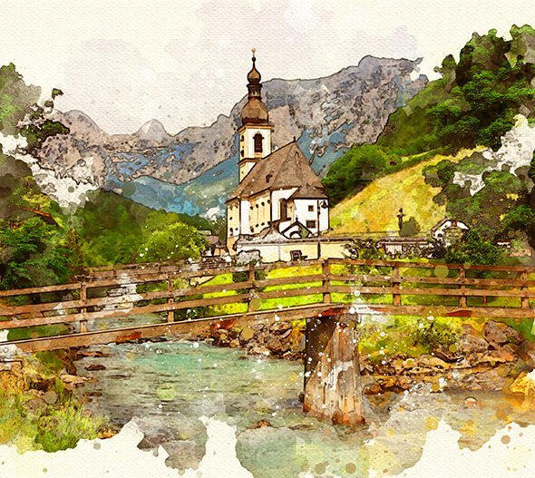watercolor photoshop action one click