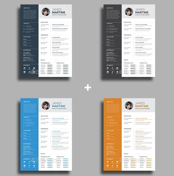 13 resume and cover letter 4 color versions
