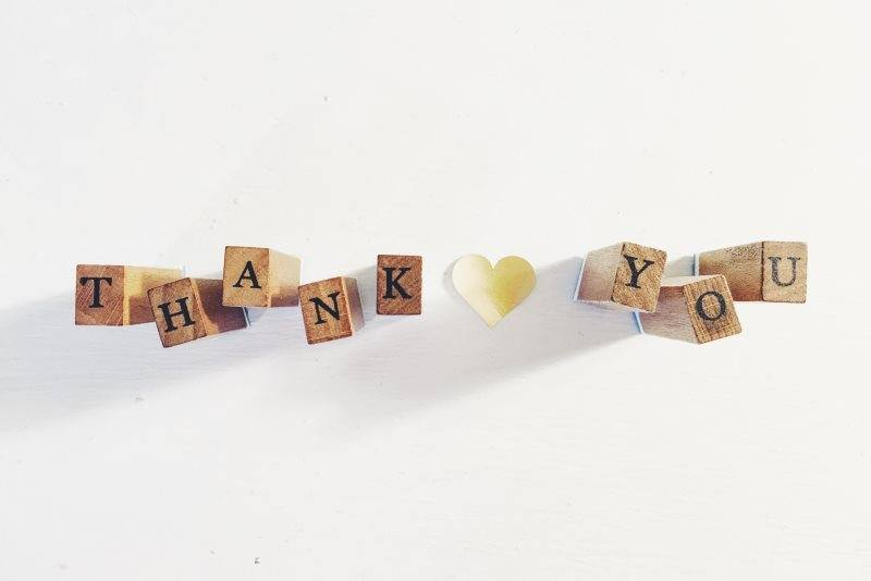 2 Thank you wooden block image