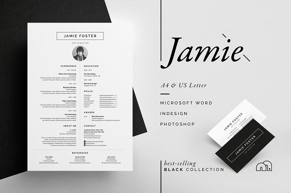 25 jamie resume cv with business card design