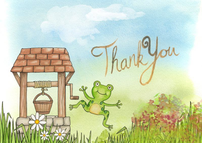 29 thank you frog card well jumping