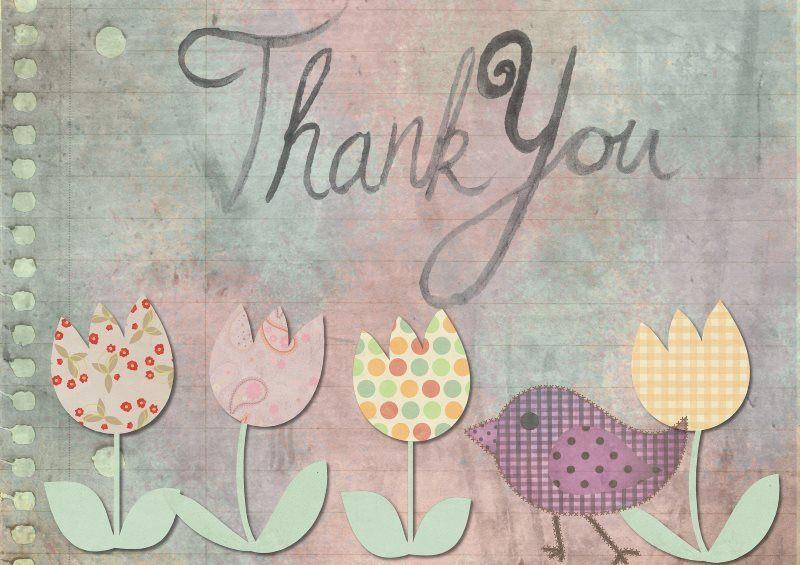30 greeting tulip bird thank you card