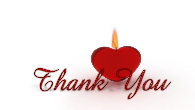 8 thank you heart candle wick light