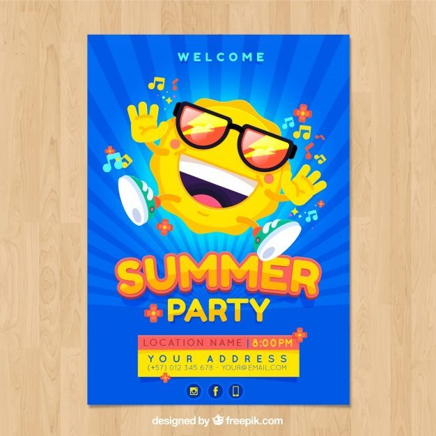 Summer Party Poster Free Vector