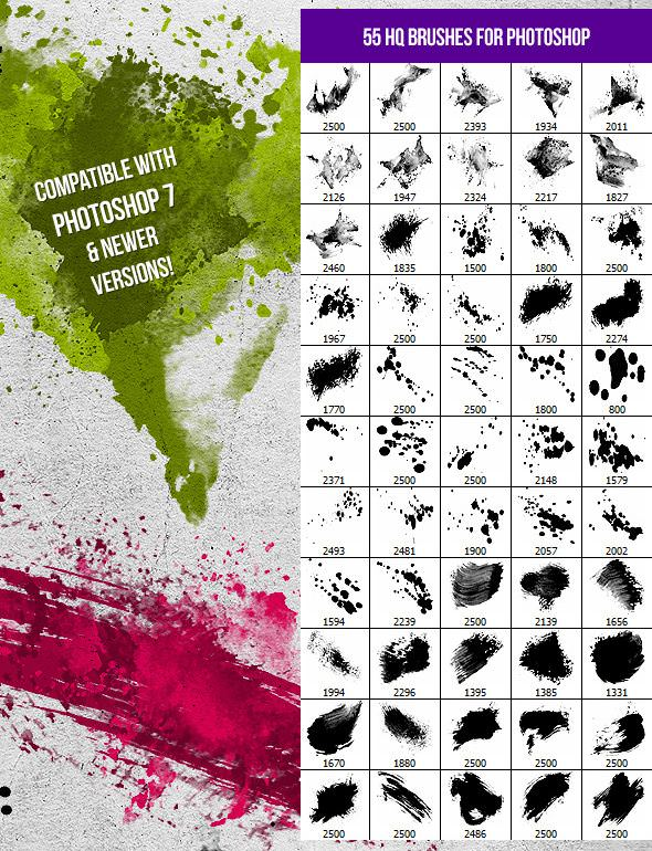 55 Splatters Smudges and Splashes Photoshop Brushes