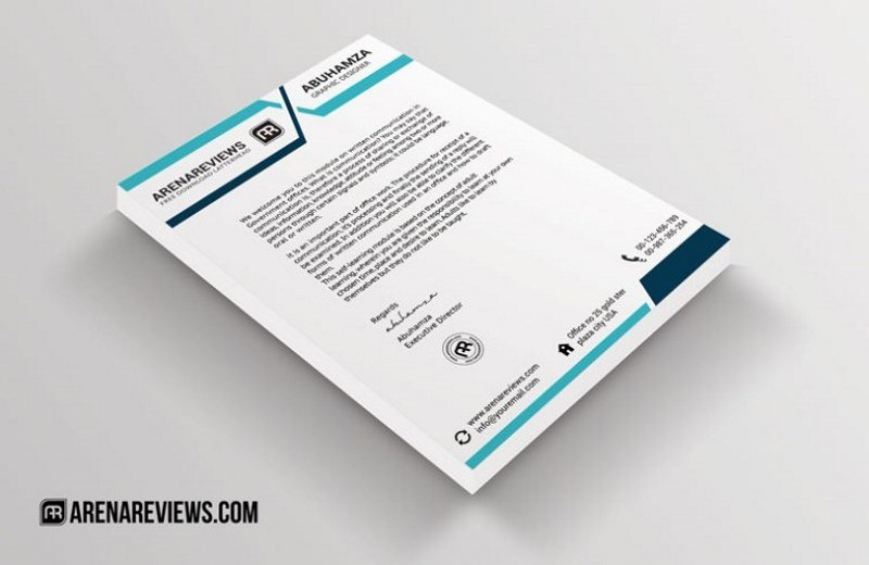 Free Letterhead Template Blue Turquoise Design