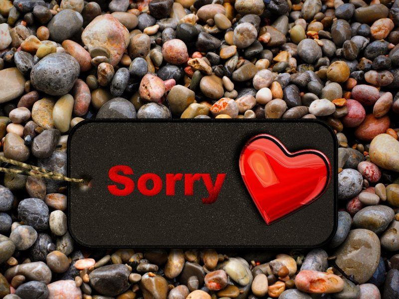 Sorry Heart with Background Stones