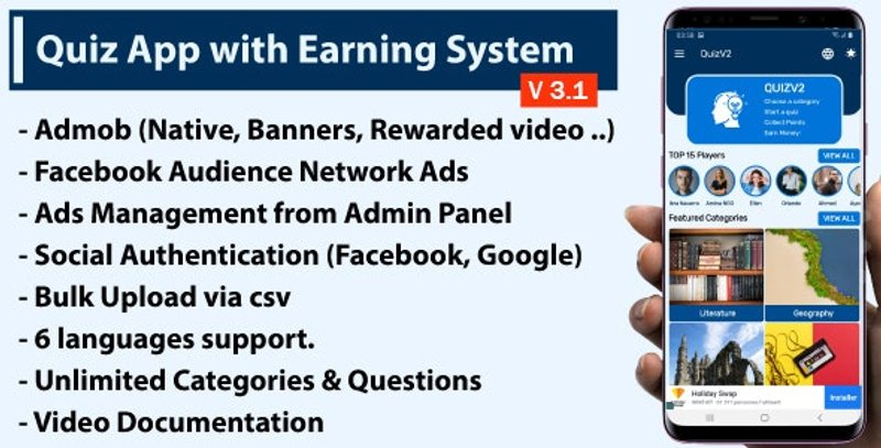 3 Quiz App with Earning