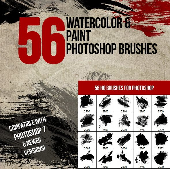 56 watercolor and paint photoshop brushes