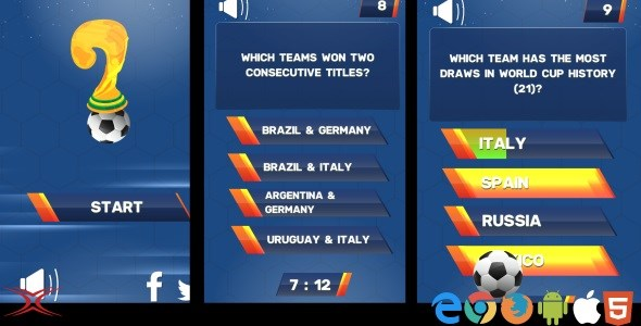 Football World Cup Quiz HTML5 Game