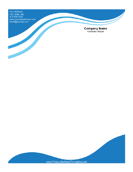 Business Letterhead with Blue Waves