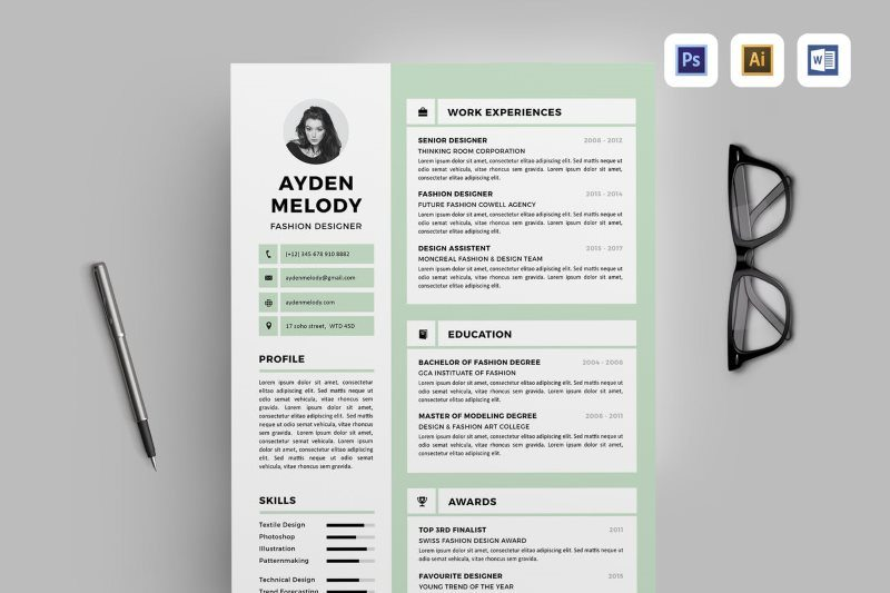 Clean and Creative Resume Template in DOC AI PSD Format