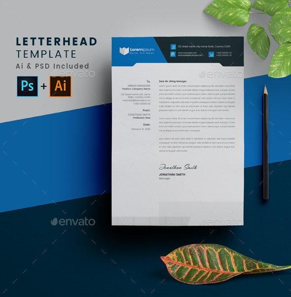 blue letterhead layout template