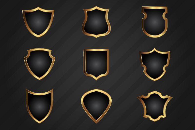 Free Realistic Gold Shield Shapes