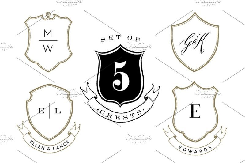 Five Hand Drawn Crest Shield Shapes
