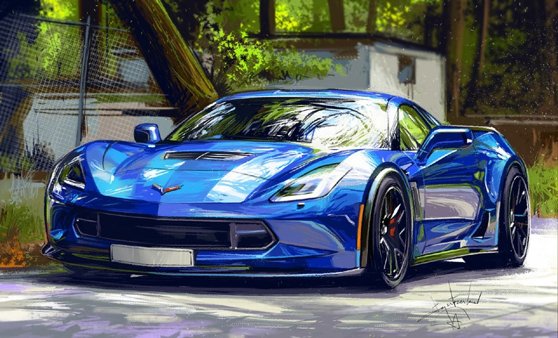 Blue Car Painting HD Wallpaper
