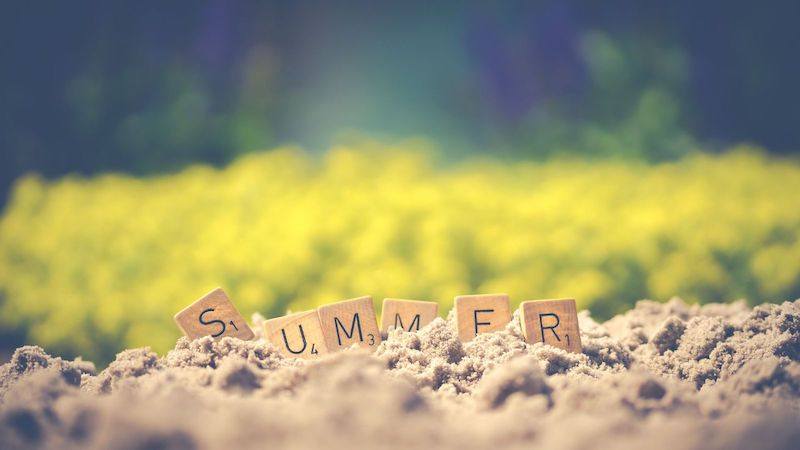 Summer Letter Cubes on Soil Wallpaper