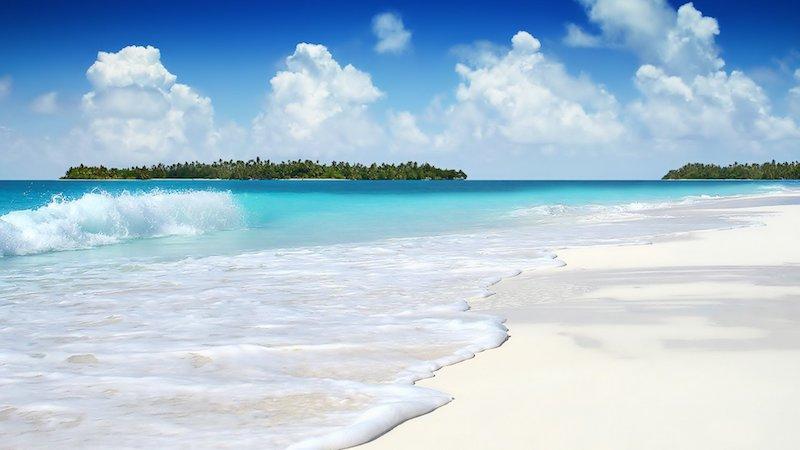 turquoise water sky beach