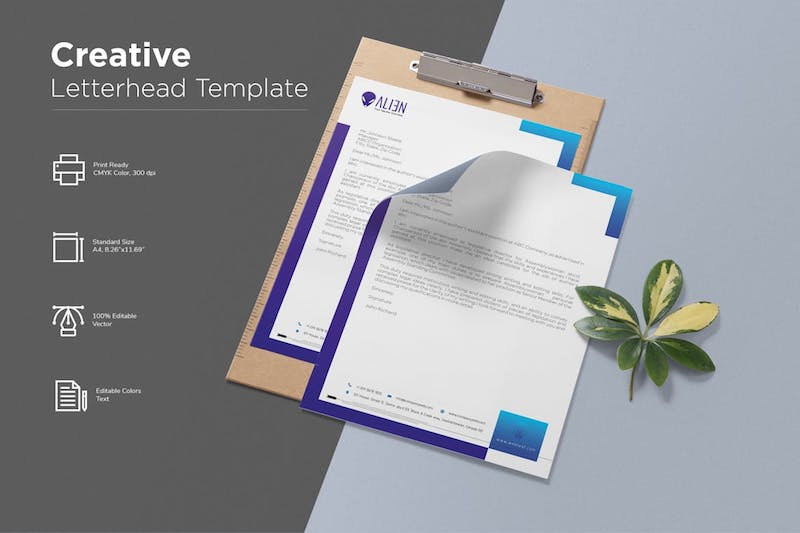 creative letterhead template blue purple gradient