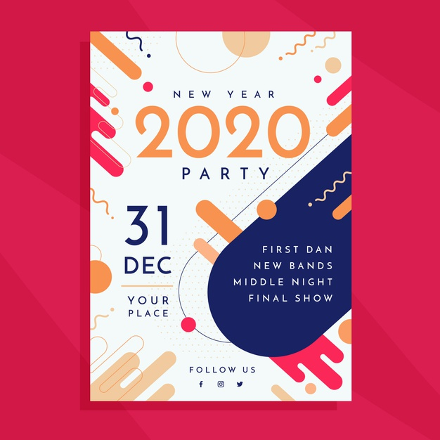 abstract colorful new year flyer template