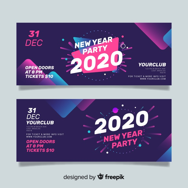abstract new year party banners free