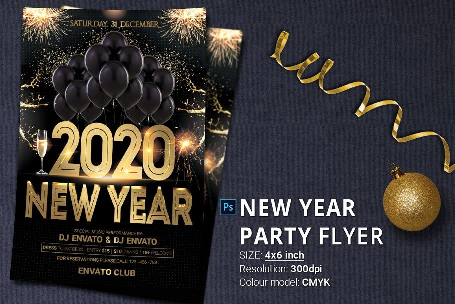 black gold new year party psd flyer