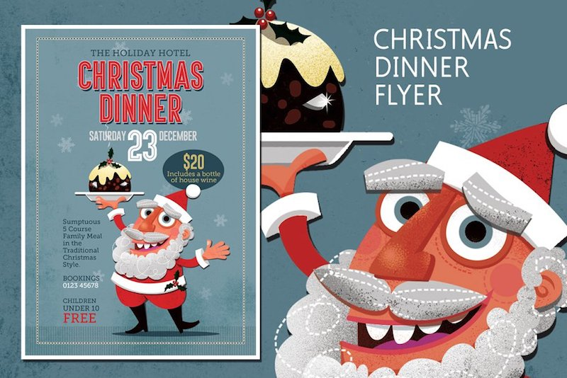 christmas dinner flyer template santa xmas pudding