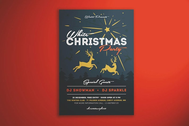 christmas party flyers reindeers