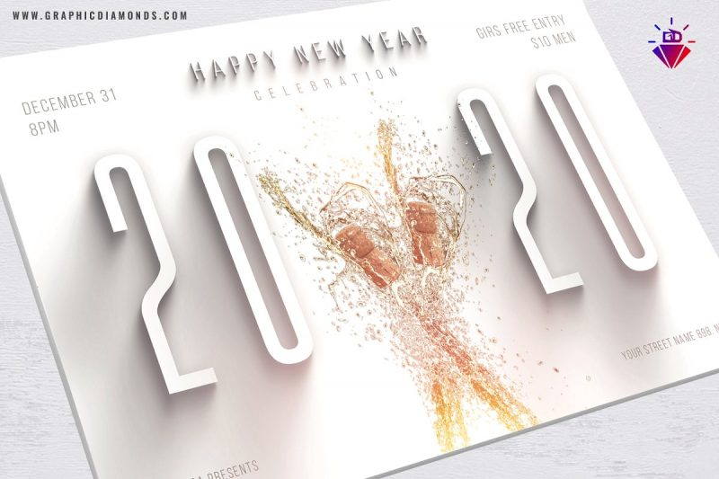 clean nye celebration flyer in white